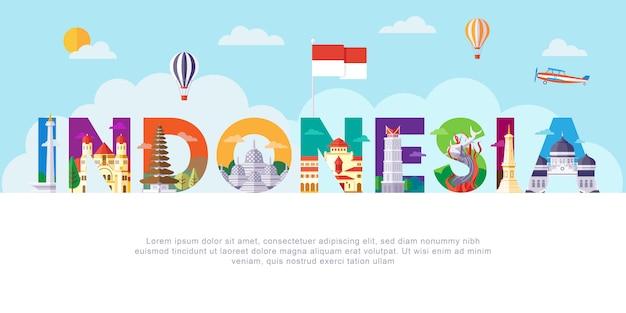 Indonesien-schriftzug