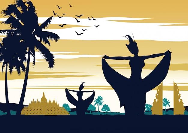 Indonesien-tanzshow auf sonnenuntergangzeit, berühmte leistung
