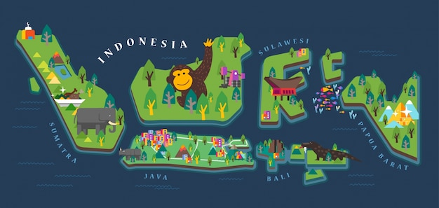 Indonesien tourismus karte