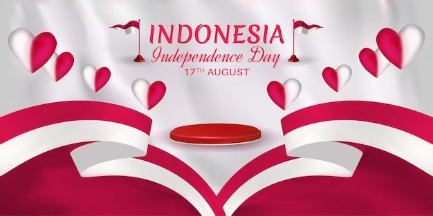 Indonesien-unabhängigkeitstag-dekoration mit roten und weißen herzen des bandes und kleiner flagge
