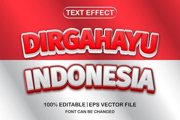 Indonesien unabhängigkeitstag, dirgahayu indonesien 3d bearbeitbarer texteffekt