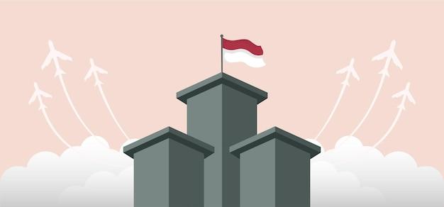 Indonesien unabhängigkeitstag landschaft banner design. vektorillustration