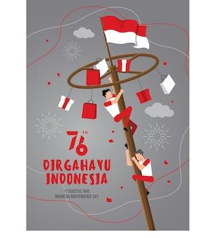 Indonesien-unabhängigkeitstag mit traditionellen spielen. 76 tahun dirgahayu indonesien bedeutet 76 jahre unabhängigkeitstag indonesiens