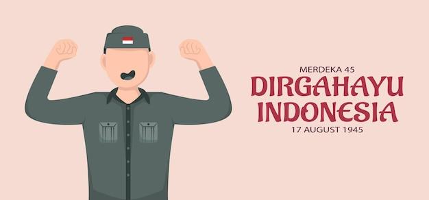 Indonesien unabhängigkeitstag vorlage. design für banner, grußkarten oder druck. vektorillustration