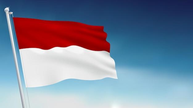 Indonesien und monaco wehende flagge auf himmelshintergrund vector illustration