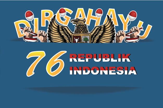 Indonesiens 76. dirgahayu unabhängigkeitstag hintergrund premium-vektor