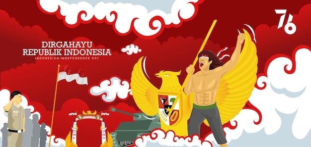 Indonesiens 76. unabhängigkeitstag-feier hintergrund