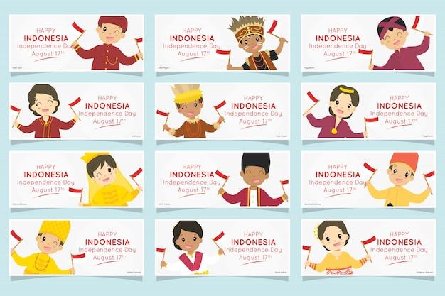 Indonesische kinder in traditioneller kleidung. indonesien unabhängigkeitstag banner gesetzt