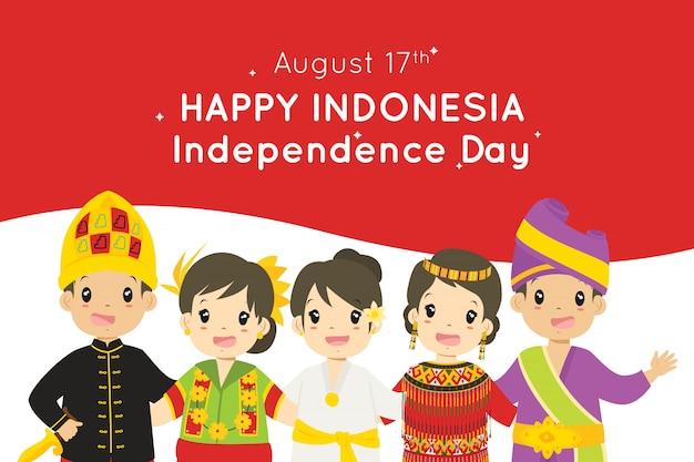 Indonesische kinder. indonesien unabhängigkeitstag, 17. august design.