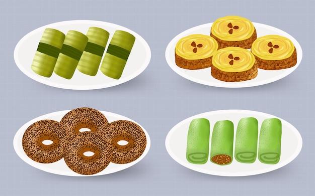 Indonesische traditionelle speisen und snacks sammlung aquarell handgemalte illustration