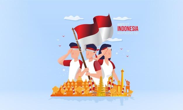 Indonesischer nationalfeiertag mit jugendgeist auf illustrationskonzept