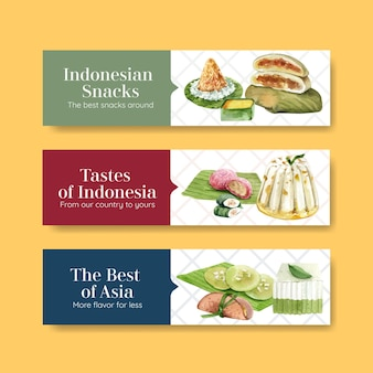 Indonesischer snack-banner-schablonensatz