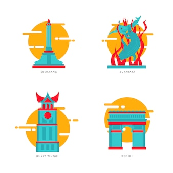 Indonesischer stadt-markstein-ikonen-vektor