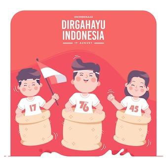 Indonesischer traditioneller kulturunabhängigkeitstagillustrationshintergrund