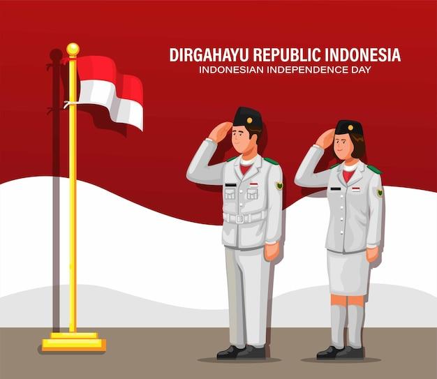 Indonesischer unabhängigkeitstag mit flaggenhebern alias paskibraka im zeremonieillustrationskarikaturvektor