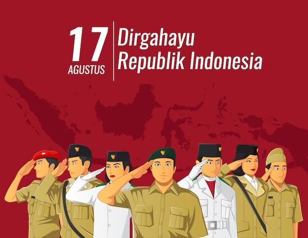 Indonesisches unabhängigkeitsbanner mit salutierenden leuten