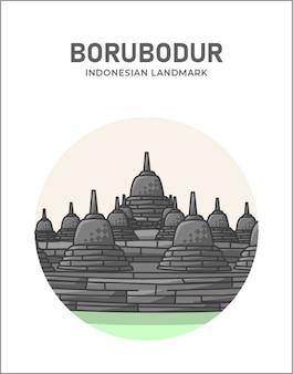 Indonesisches wahrzeichenplakat des borubodur-tempels