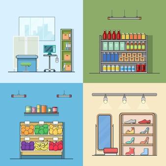 Indoor-set des grünen lebensmittelgemüseschuhgeschäftsgeschäftsgeschäfts-krankenhausinnenraums. flache stilikonen mit linearem strichumriss. farbsymbolsammlung.
