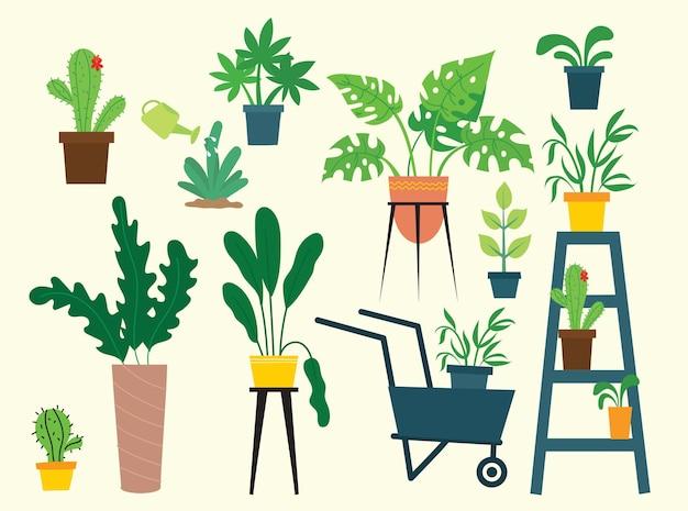 Indoor- und outdoor-landschaftsgarten topfpflanzen isoliert auf weiss. vektor-set grünpflanze im topf, illustration der blumentopfblüte
