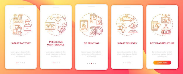 Industrie .0 trends onboarding mobile app seitenbildschirm mit konzepten. intelligente sensoren, vorausschauende wartungsschritte. ui-vorlage