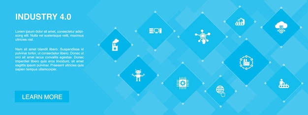 Industrie 4.0-banner 10 icons concept.internet, automation, manufacturing, computing einfache icons