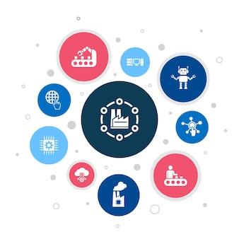 Industrie 4.0 infografik 10-schritte-pixel-design.internet, automatisierung, fertigung, einfache symbole berechnen