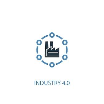 Industrie 4.0-konzept 2 farbiges symbol. einfache blaue elementillustration. symboldesign für industrie 4.0-konzept. kann für web- und mobile ui/ux verwendet werden