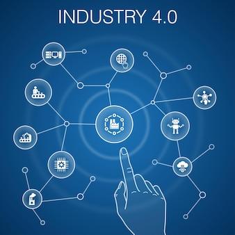 Industrie 4.0-konzept, blauer hintergrund. internet, automatisierung, fertigung, computersymbole
