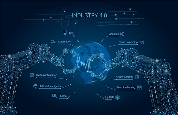 Industrie 4.0 mit roboterarm. intelligente industrielle revolution, automatisierung, roboterassistenten. vektor-illustration