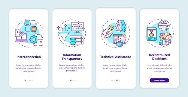 Industrie 4.0-prinzipien onboarding des bildschirms für mobile app-seiten mit konzepten. verbindung, technische unterstützung exemplarische vorgehensweise 4 schritte. ui-vorlage mit rgb-farben s