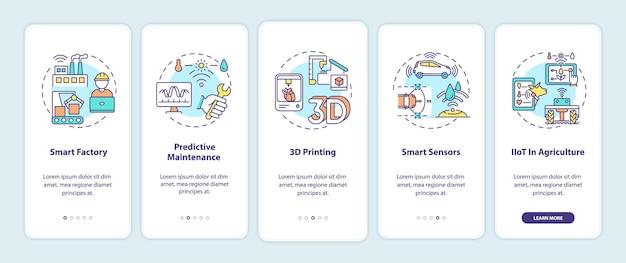 Industrie 4.0-trends onboarding des bildschirms für mobile app-seiten mit konzepten. smart factory, 3d-druck, exemplarische vorgehensweise für intelligente sensoren in 5 schritten. ui-vorlage mit rgb-farbe