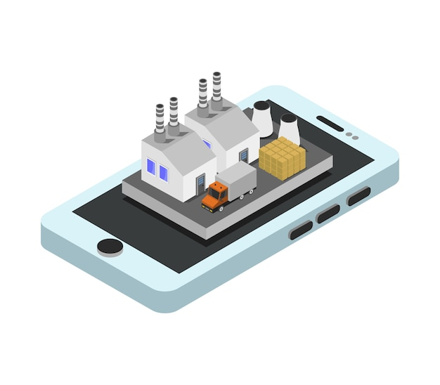 Industrie auf isometrischem smartphone