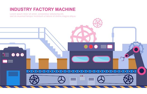 Industrie fabrik konzept förderer automatische produktion roboter montage illustration