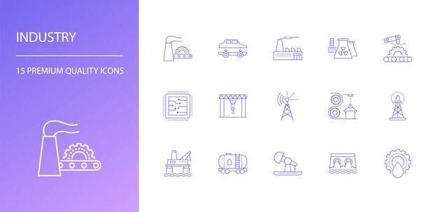 Industrie linie icons set
