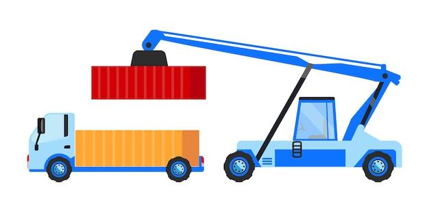 Industrie-lkw-karikatur. flache farbobjekte für lastkraftwagen und mobilkrane. schwere maschinen für containertransport lokalisiert auf weißem hintergrund. lagerfahrzeuge