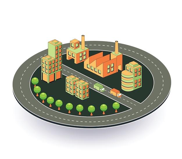 Industrieanlage in der isometrischen ansicht mit der landschaft
