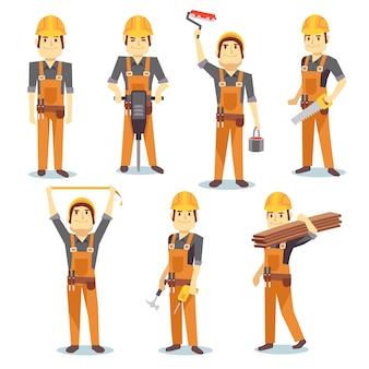 Industriearbeiter des bauingenieurwesens, die mit dem errichten von werkzeugen und von ausrüstung arbeiten, vector leute