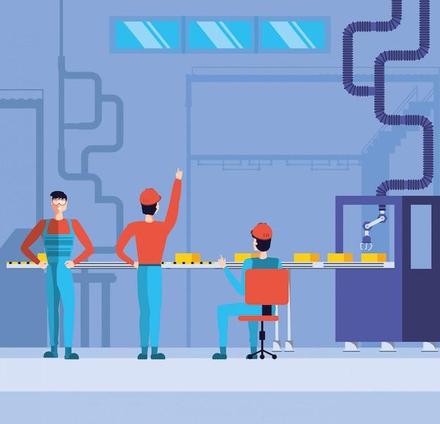 Industriearbeiter in technifizierter fabrik