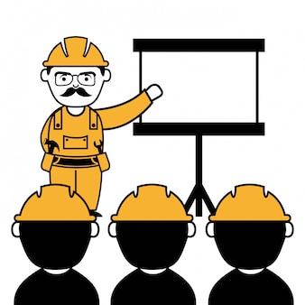 Industriearbeiter über weißer hintergrundvektorillustration