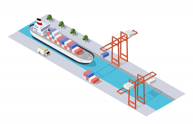 Industriedock der isometrischen stadt