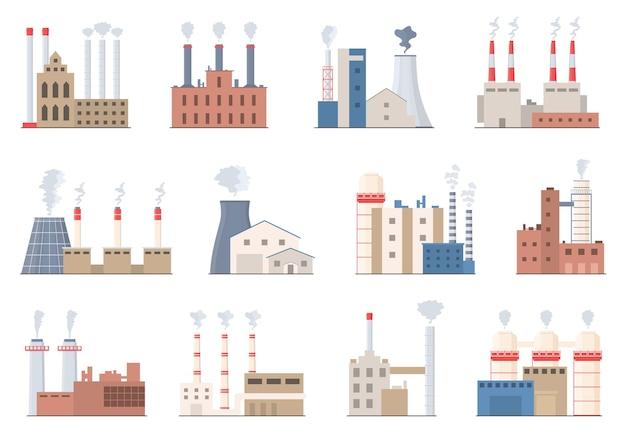 Industriegebäude. fabrikschornstein mit rauch. farbige industrierohre im flachen stil. umweltverschmutzung. giftiger fabrikrauch. schornstein vektor-illustration.