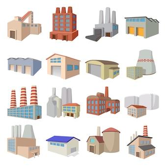 Industriegebäudefabrik- und -kraftwerkkarikaturikonen eingestellt