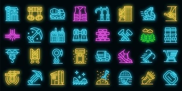 Industriekletterer icons set. umrisse von industriekletterern vektorsymbole neonfarbe auf schwarz