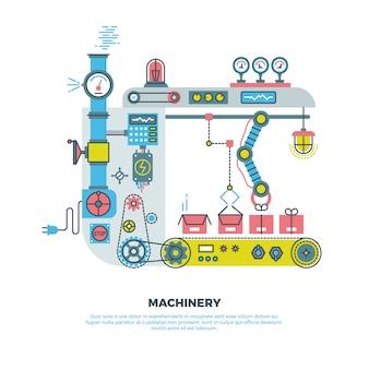 Industrielle abstrakte robotermaschine, maschinerie in der flachen art