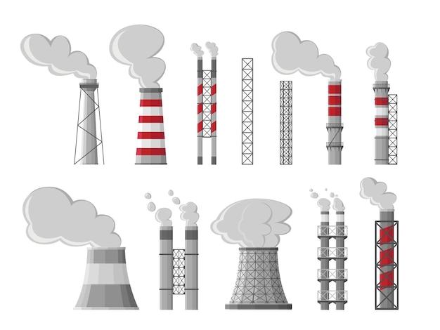 Industrielle fabrik industrielle schornsteinverschmutzung mit rauch. fossile brennstoffe, kohleverbrennungsprozess. giftige dämpfe, emissionen schwerer chemikalien. luftverschmutzung, symbol der globalen erwärmung