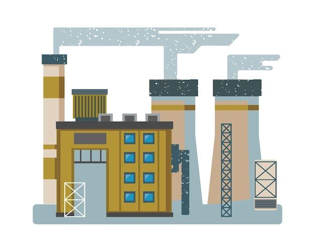 Industrielle fabrikgebäude im flachen designstil des vektors trending-stil und farbe isolierte cliparts