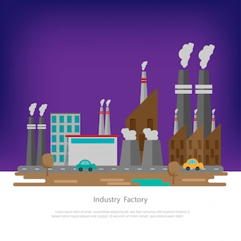 Industrielle fabrikzone mit fabrikgebäuden, park, straße. landschaft der verschmutzungszone.