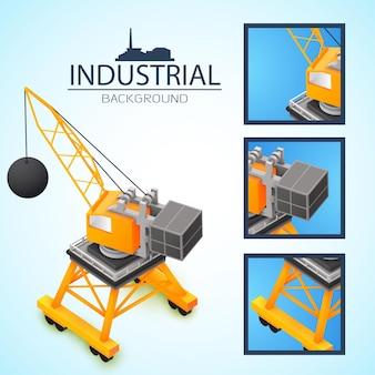 Industrielle farbige komposition und quadratische symbole mit kranstücken in vergrößerter ansicht