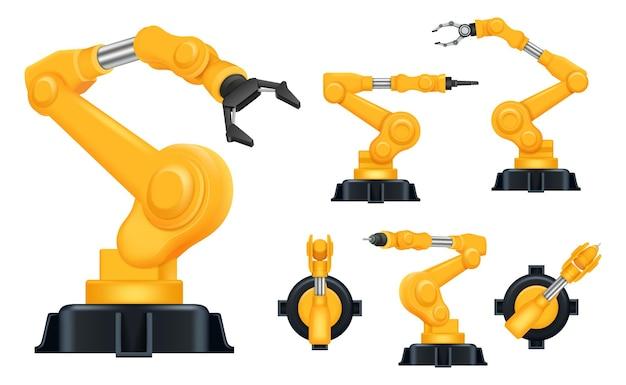 Industrielle hände. fabrik automatisch roboter für herstellungsprozesse intelligente hilfesysteme realistisch. Premium Vektoren