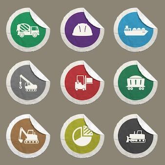 Industrielle icons für websites und benutzeroberfläche